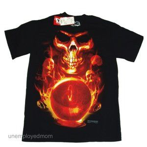 Other - Skull Scary Flames Adult Mens Womens Tee